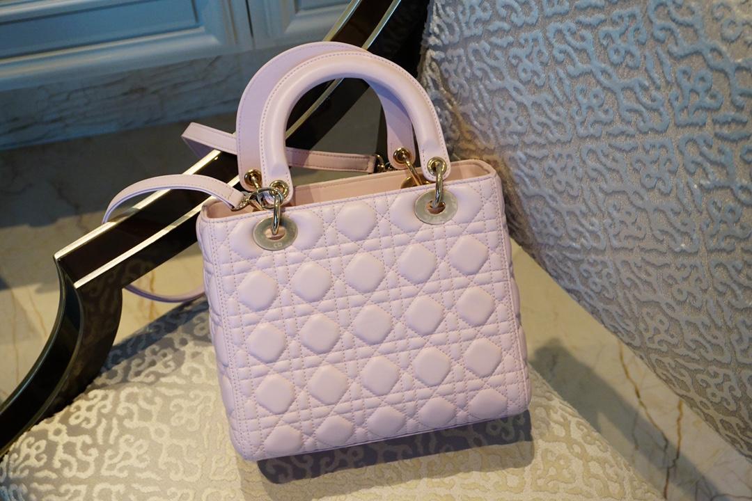 Dior 迪奥 五格 淡粉色 羊皮 金扣 24cm,优雅又少女
