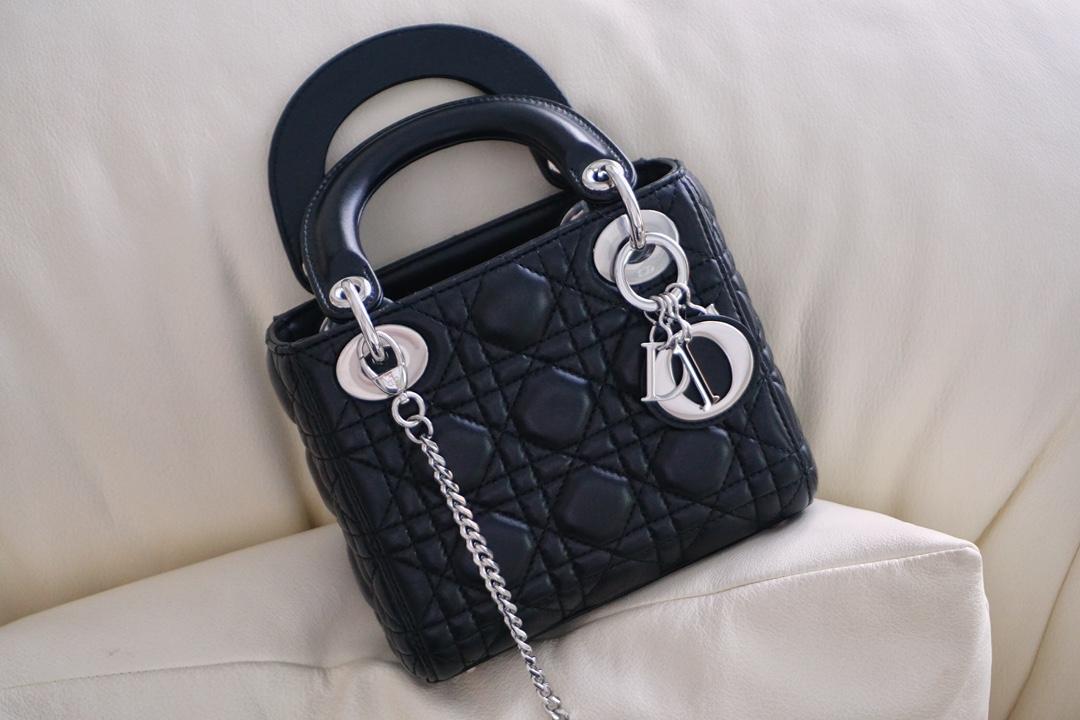 Dior 迪奥 戴妃包 Lady Dior 三格 17cm 黑羊银