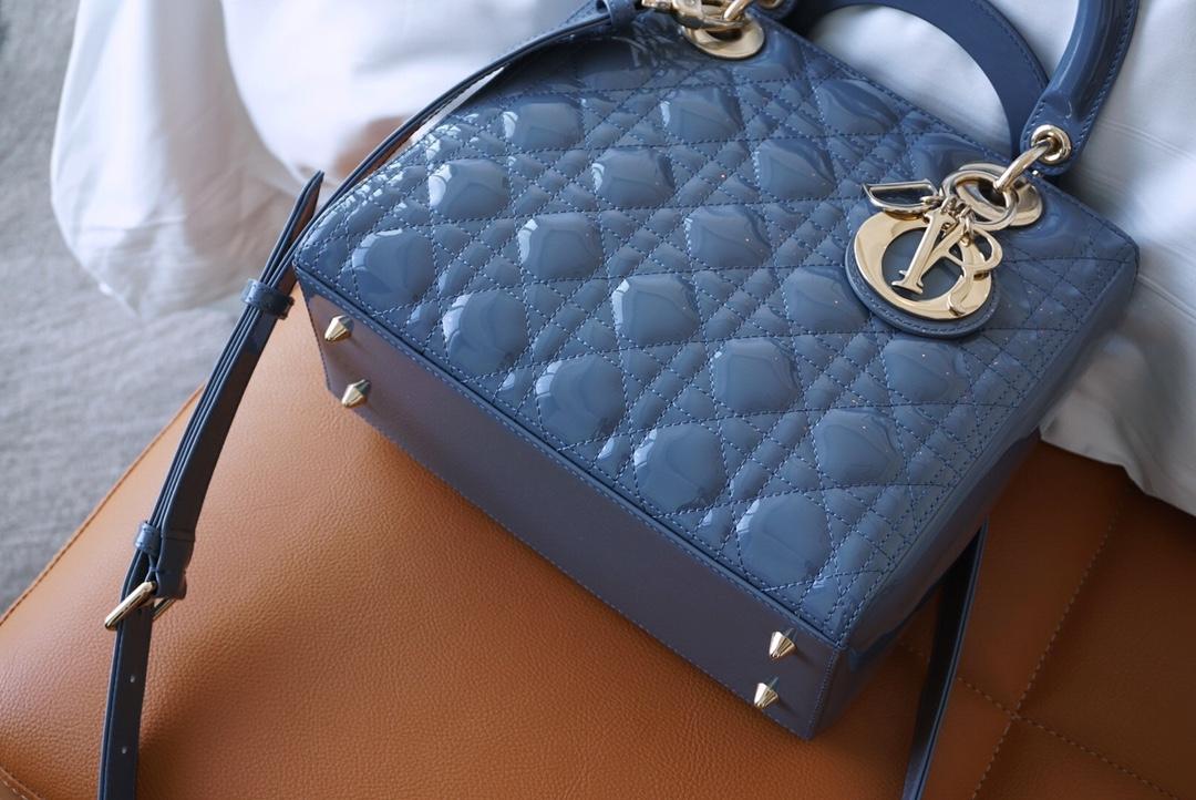 Dior 迪奥 戴妃包 五格雾霾蓝漆金 原厂皮精钢五金