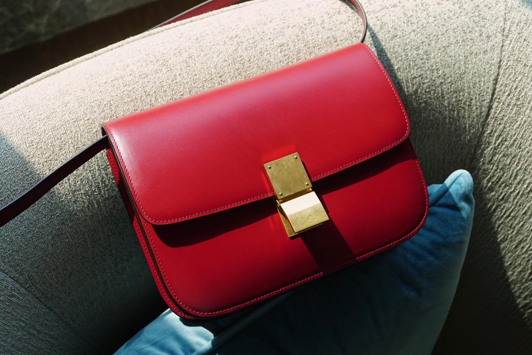 Celine 思琳 Box 罂粟红 24cm 百搭不易过时