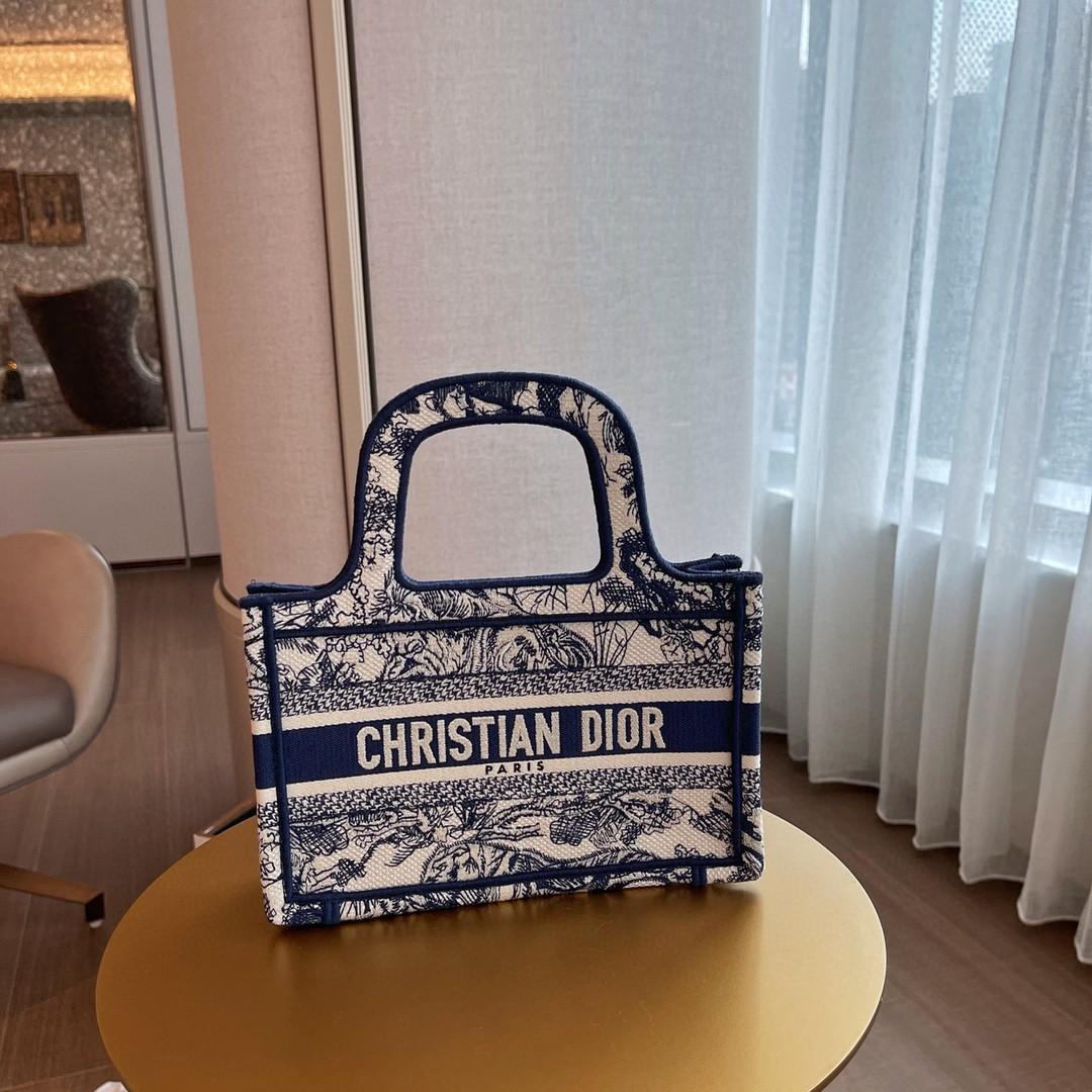 Dior 迪奥 购物袋 mini/22.5cm 蓝老虎图腾刺绣