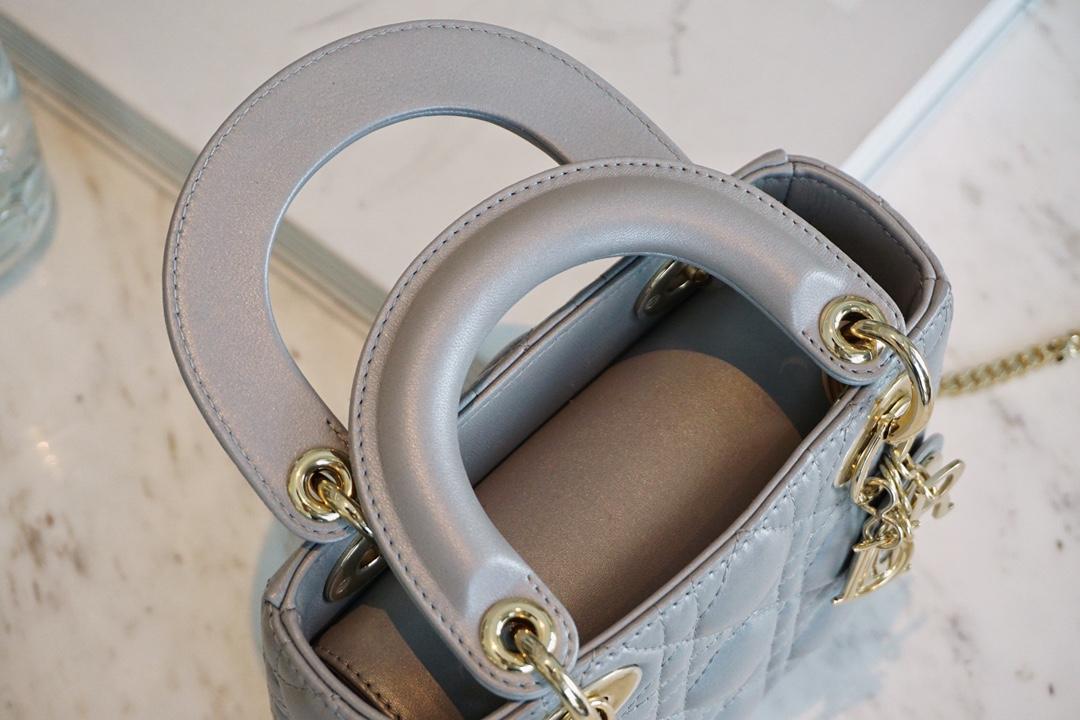 DIOR迪奥 三格-珠光灰羊金 羊皮-柔软细腻 戴妃包 Lady Dior