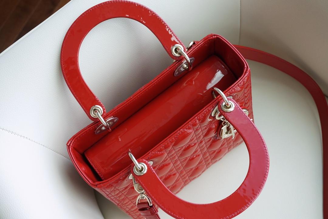 Dior 迪奥 戴妃包 五格/24cm 大红色 全新翻盖翻绒内里