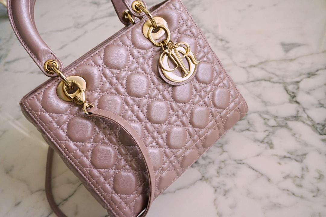 Dior 迪奥 五格/24cm 珠光粉 银扣 现货