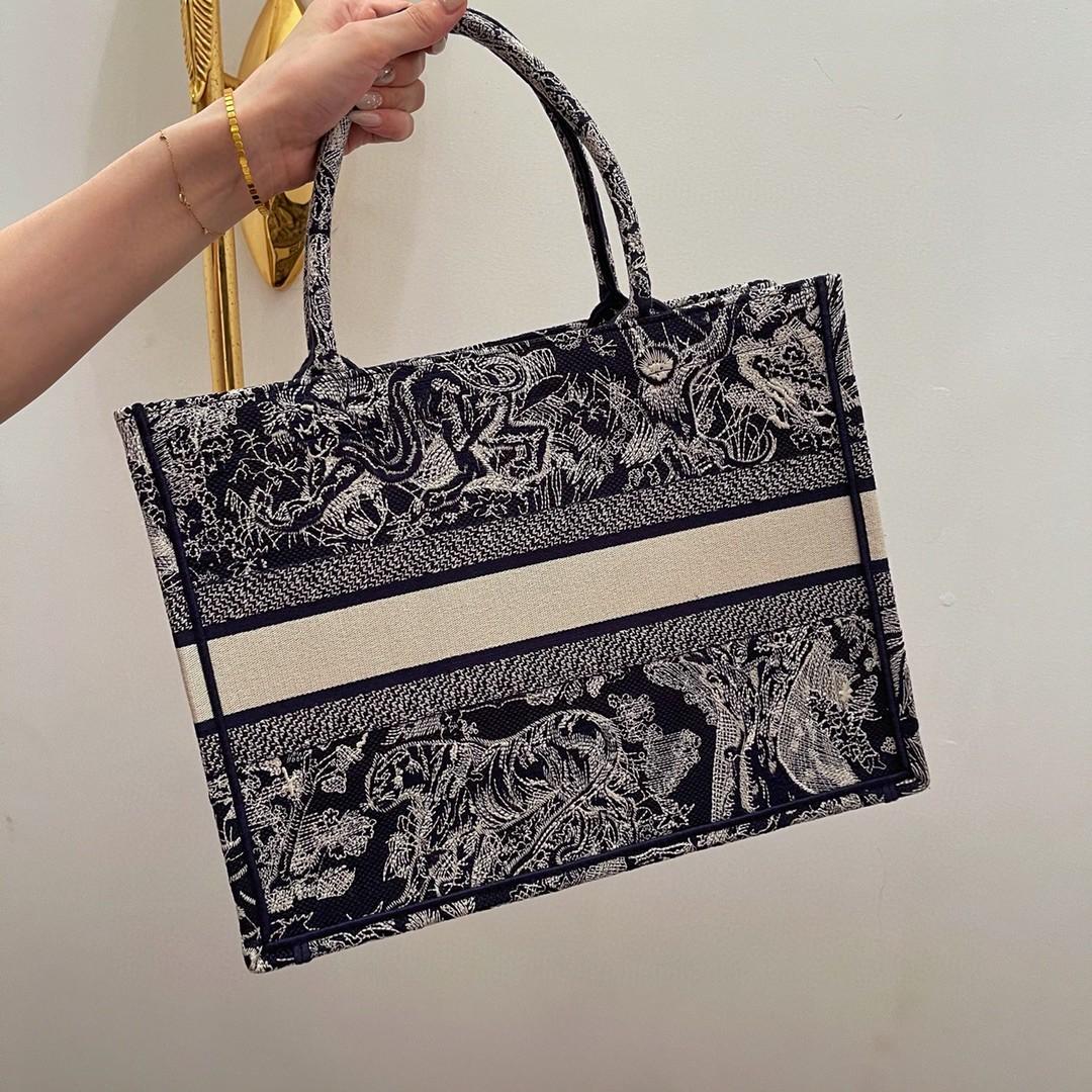 Dior 迪奥 购物袋 新蓝老虎 小号 36.5cm通体蓝色刺绣
