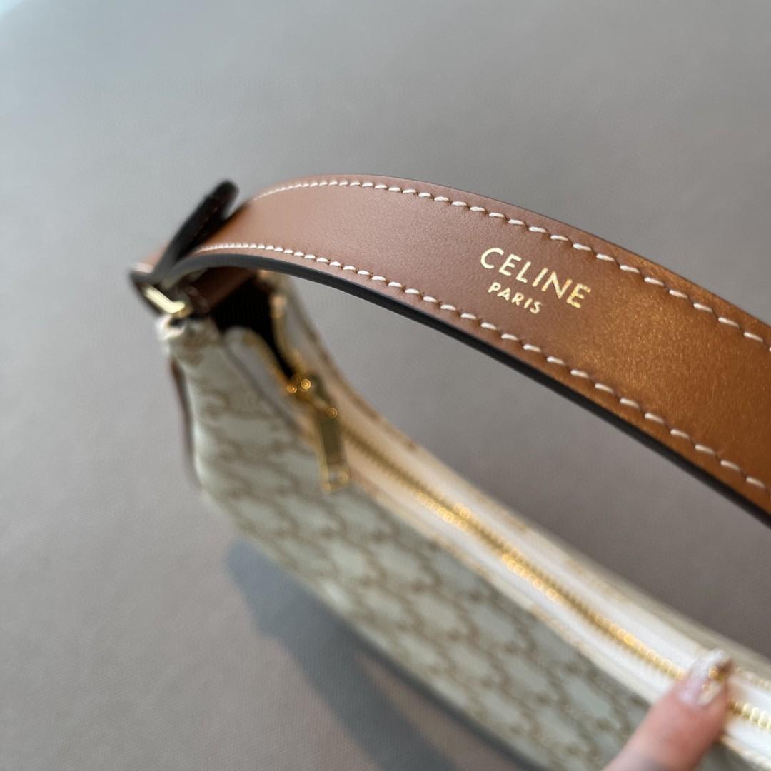 Celine 思琳 腋下包 23cm 白色老花  半圆设计使包身更显流畅  肩带可调节 一包多用