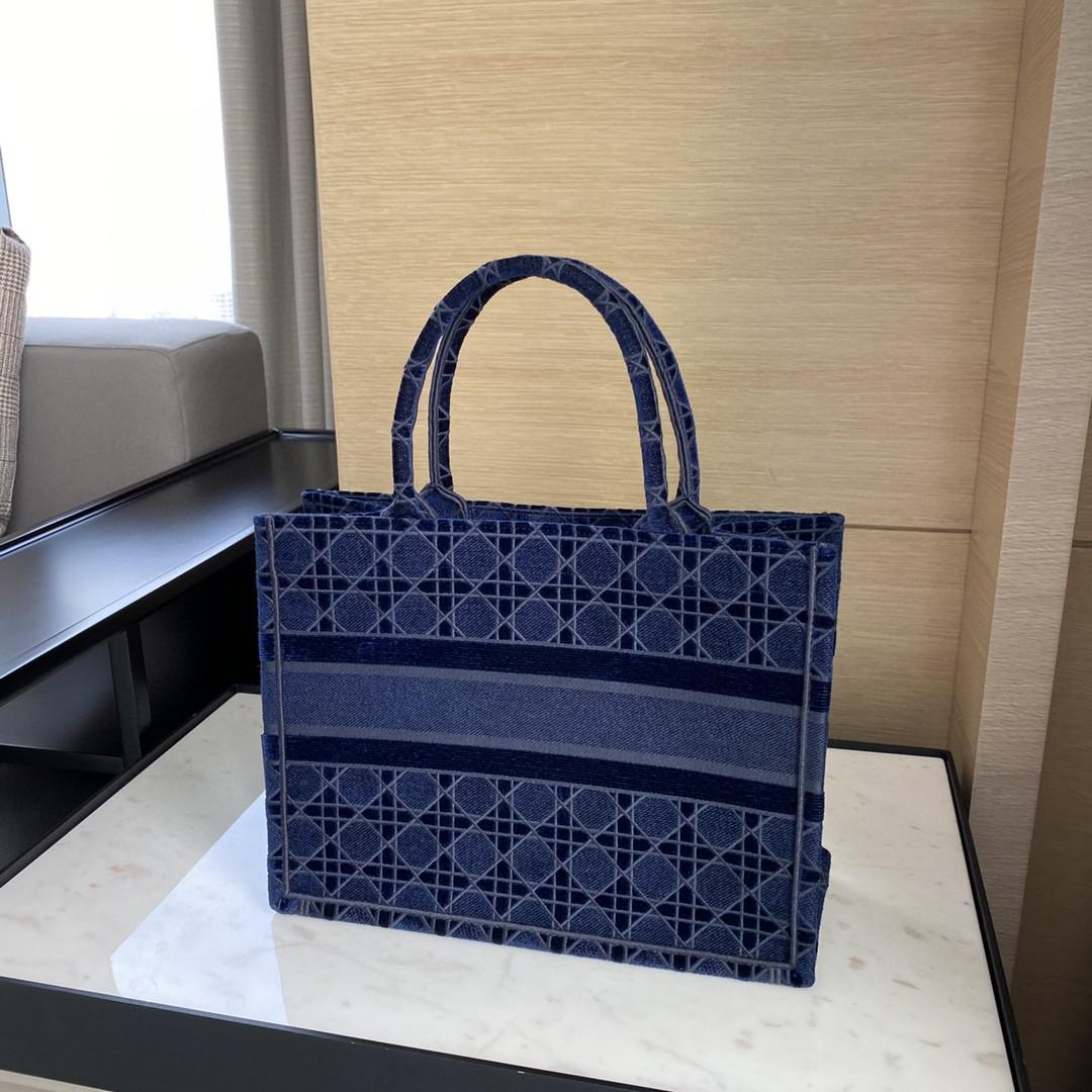 Dior 迪奥 丝绒 菱格蓝 小号/36.5cm