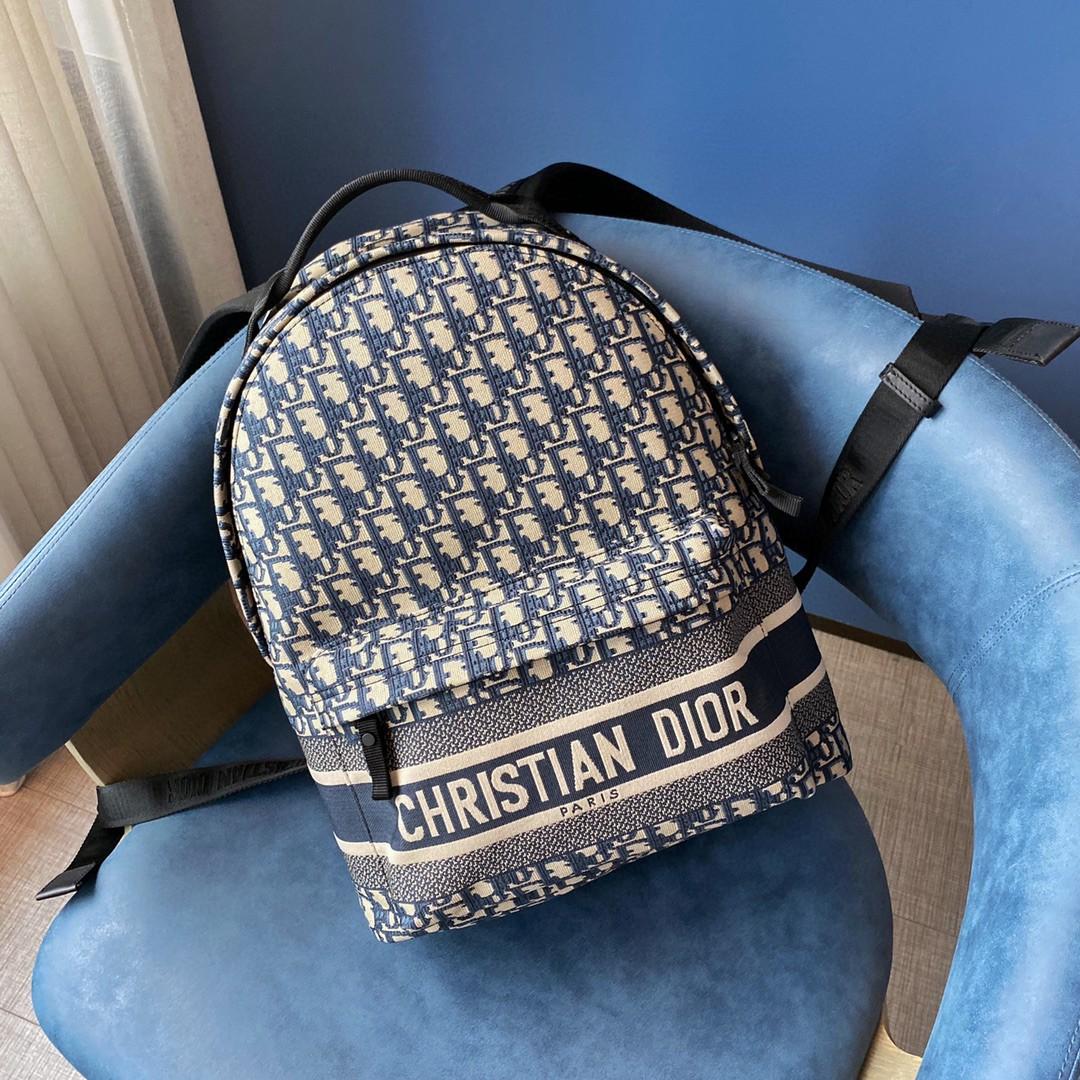 DIOR 迪奥 布纹字母蓝色 双肩包 35cm 上学 通勤 旅行登机 男女生均可驾驭,超级能装