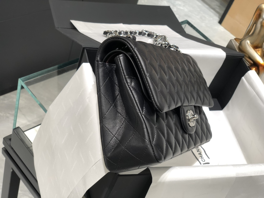 Chanel Cf中号 经典黑银 进口小羊皮 万年百搭款 选黑色绝对不会错滴