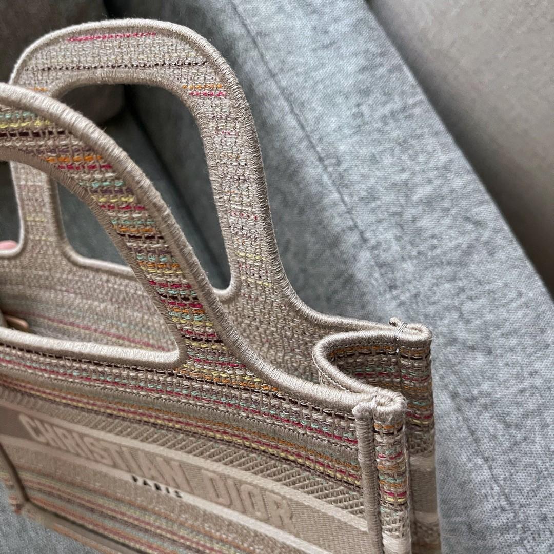 DIOR 迪奥 购物袋 mini 条纹款 22.5cm多色织条交汇
