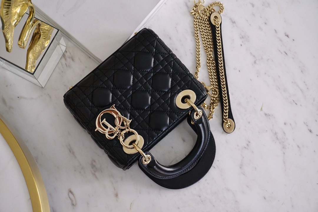 Dior 迪奥 戴妃包 Lady Dior 三格 17cm 黑羊金