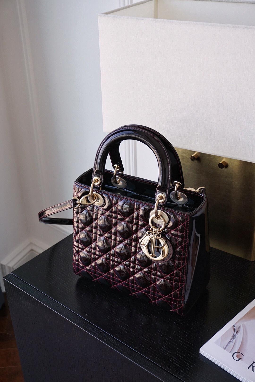 Dior 迪奥 戴妃包 五格/24cm 车厘子 漆皮,脱俗,高贵