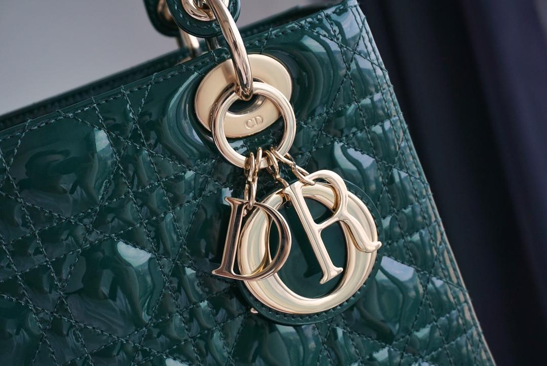 Dior 迪奥 五格戴妃包 漆皮 金扣 复古墨绿色