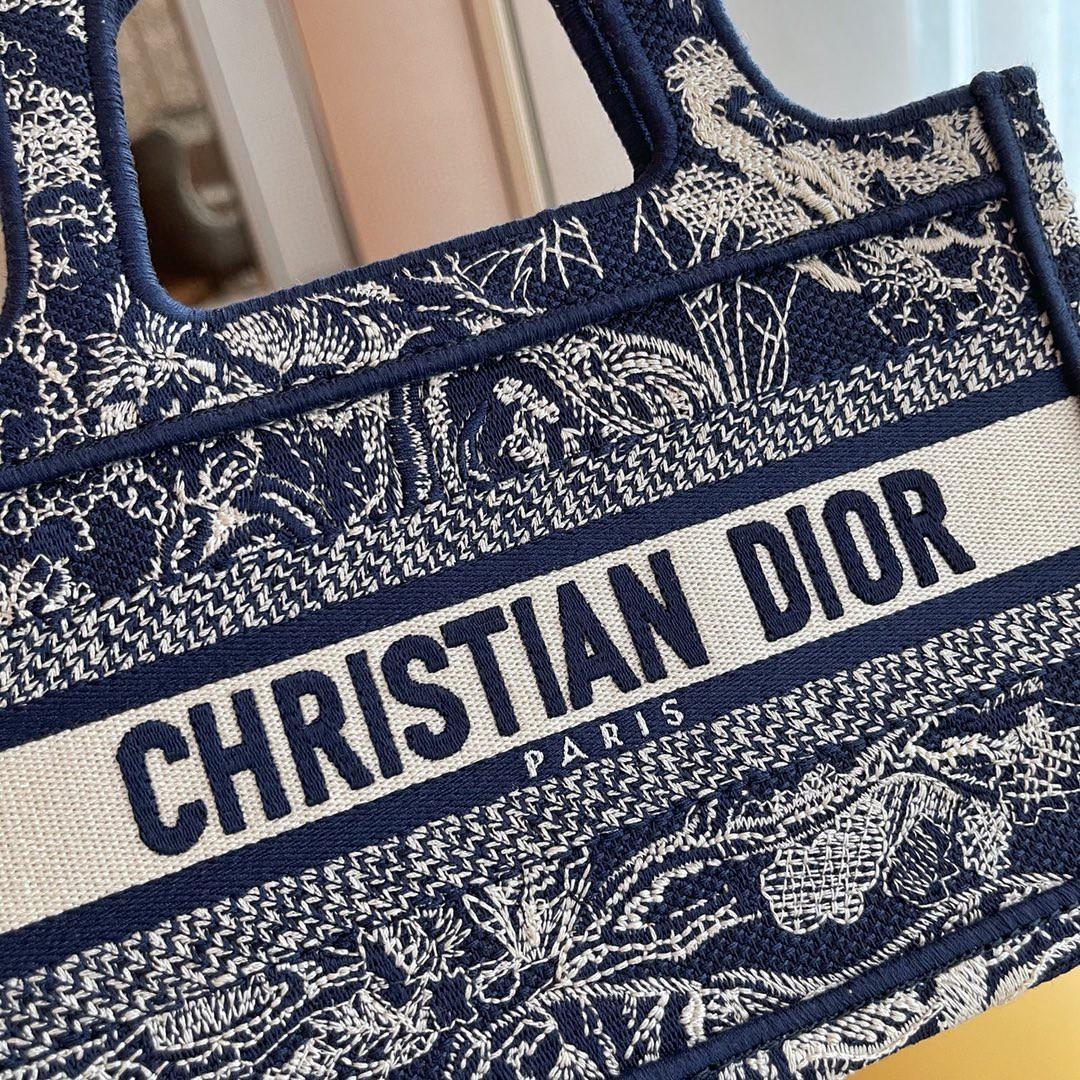 Dior 迪奥 购物袋 mini/22.5cm 新蓝老虎刺绣