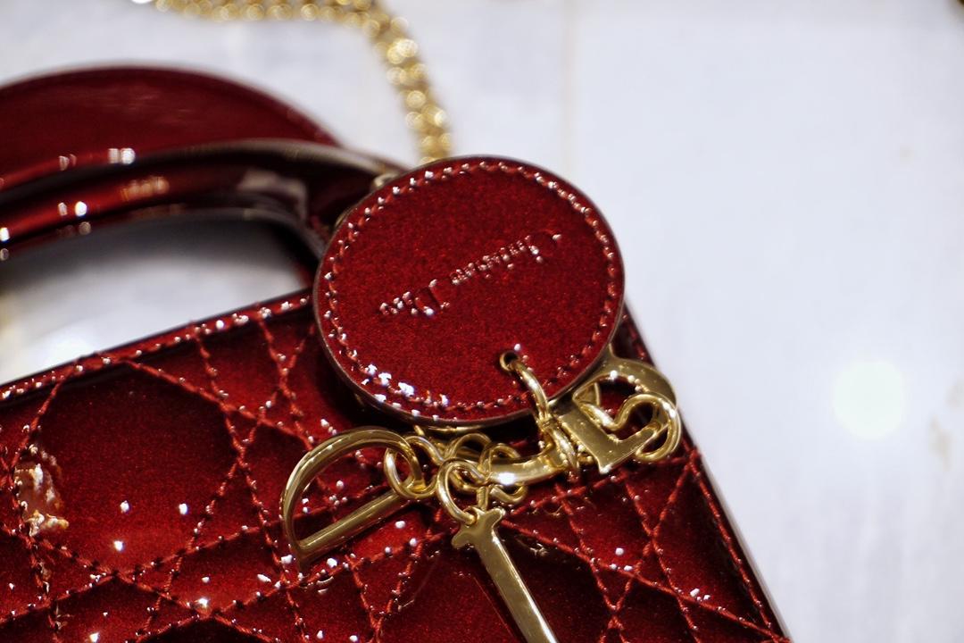 DIOR迪奥 三格 17cm 车厘子色 特别显贵气的一个色 戴妃包 Lady Dior