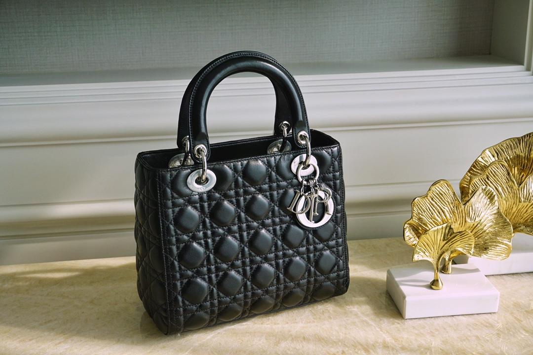 DIOR 迪奥 五格 戴妃包 五格 24cm 黑色 银扣 原厂进口小羊皮制作!