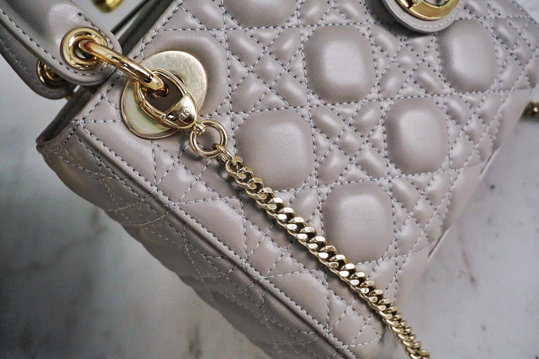 DIOR迪奥 三格/17cm 大象灰 戴妃包 Lady Dior