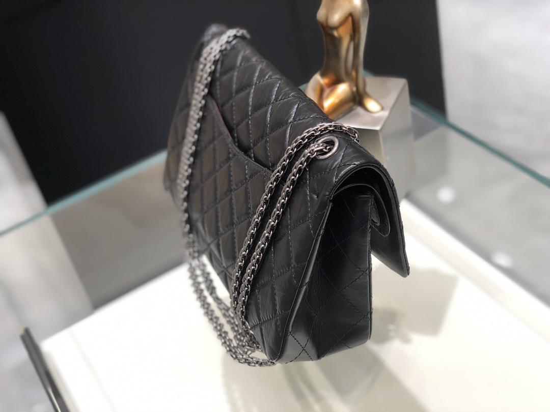 香奈儿 《复刻2.55系列》28cm~顶级代购版本~黑色~古银扣~意大利原厂树纹牛皮~现货