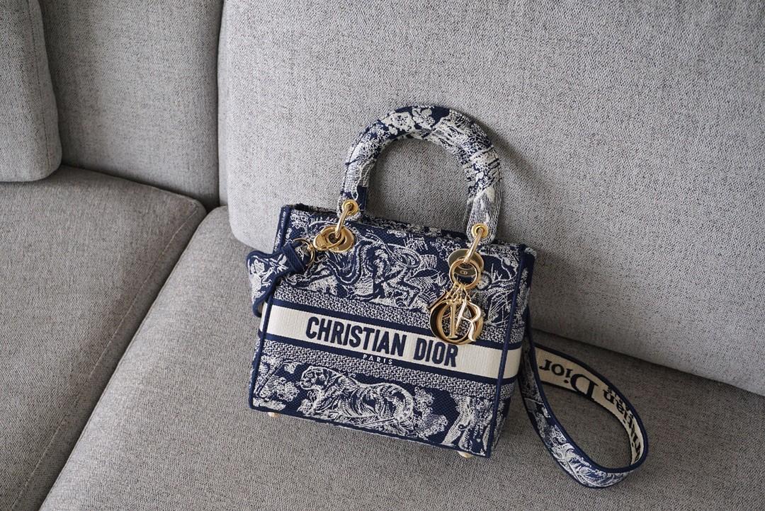 Dior 迪奥 五格/24cm 布纹 蓝老虎 戴妃包 Lady Dior 全新演绎标志性图案