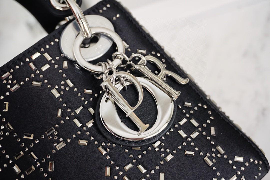 Dior 迪奥 三格 缎面黑 17cm 名媛气息 闪亮迷人