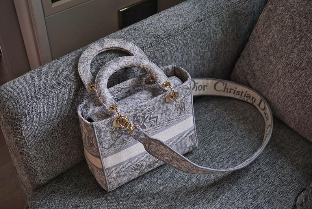Dior 迪奥 五格/24cm 布纹 灰老虎 精湛工艺 动物刺绣 戴妃包 Lady Dior 全新演绎标志性图案