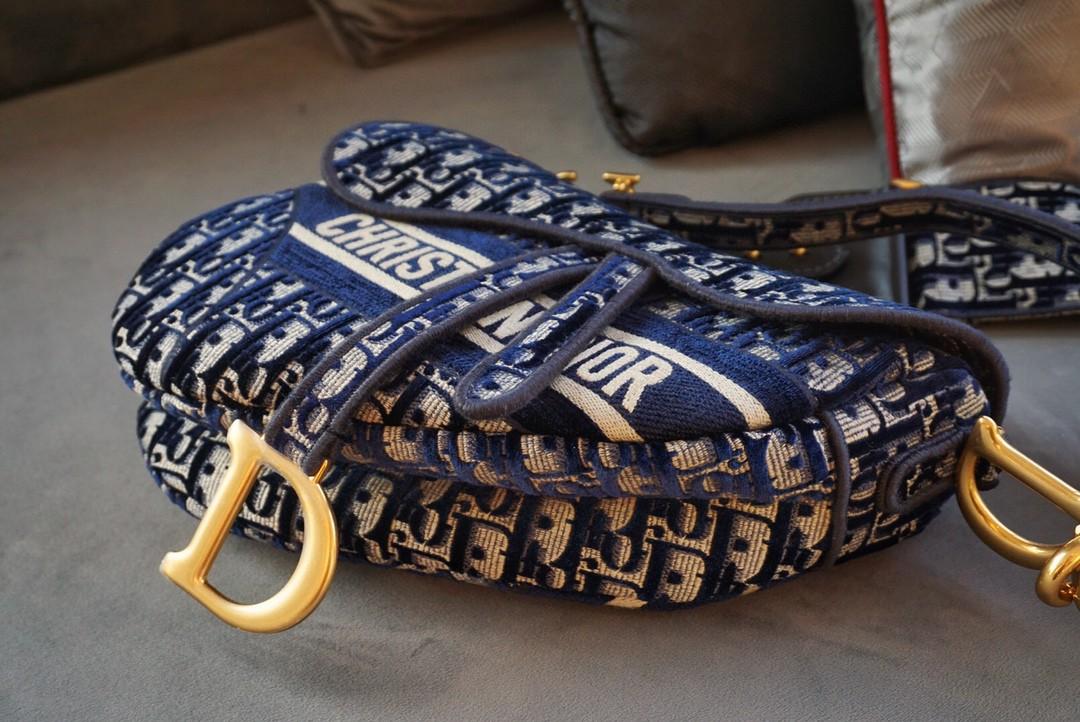 Dior 迪奥 马鞍包 高级 丝绒字母蓝 大号/25.5cm特别的存在