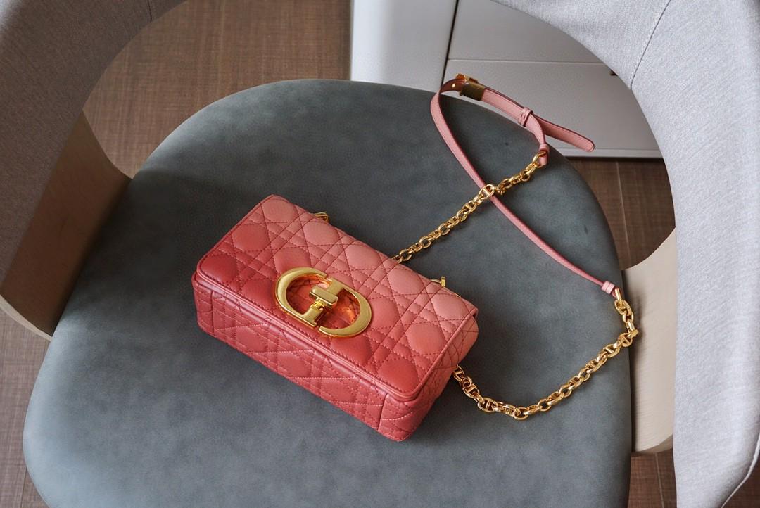 Dior 迪奥 Caro 藤格纹渐变效果 粉色羊皮革精心制作