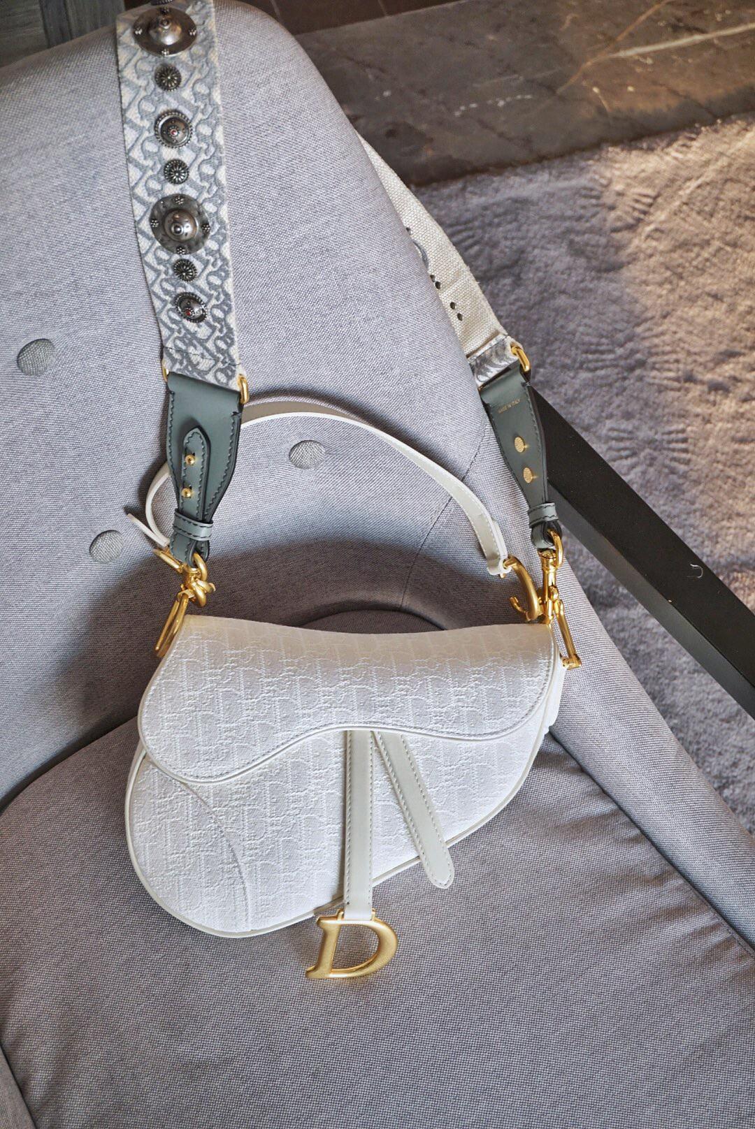Dior 迪奥 马鞍包 布纹白 大号 25.5cm潮流周而复始