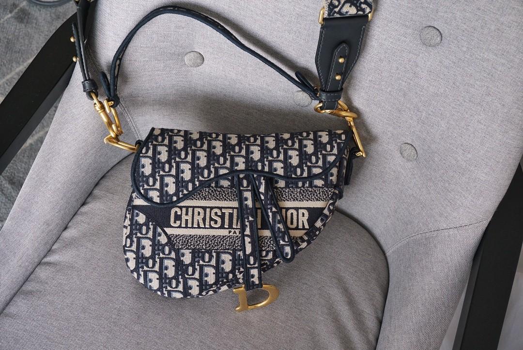 Dior 迪奥 马鞍包 布纹字母蓝 25.5cm  大号 现货 凹造型突出 整体穿搭风格 一包搞定