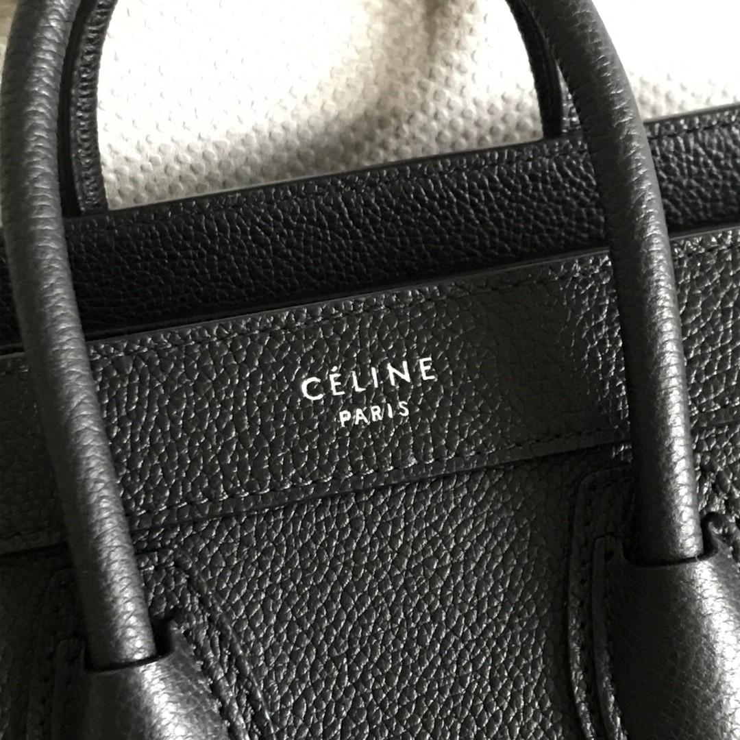 Celine 思琳 笑脸包 荔枝纹牛皮 黑色 小号/20cm 自带长肩带